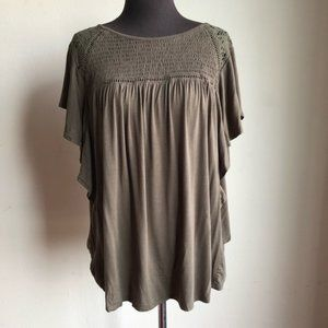 Knox Rose sz XL embroidered ruffle sleeve blouse